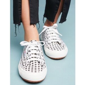 Superga 2750 Gingham Lace Up Sneakers White Gray